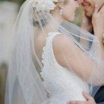 Glamorous-Wedding-Updo-With-Flower-and-Veil